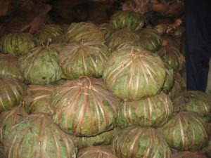 shea butter wrapped in Kapok leaves